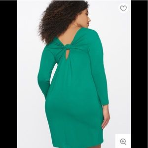 Eloquii easy long sleeves dress w/ knotted back